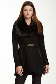 french connection leather belted faux fur collar wool blend coat