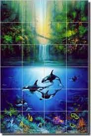 Waterfall Glass Tile Miller Tropical Waterfall Glass Tile Mural 24
