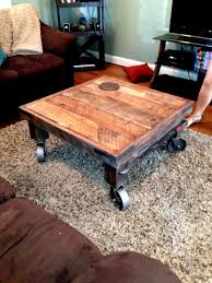 reclaimed wood coffee table with wheels industrial wood coffee table writehookstudio com