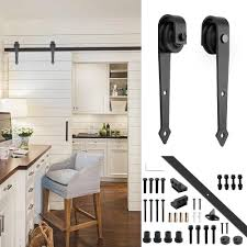 barn door track amazon com yeshom 6ft arrorw shape black country style steel