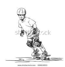 sketch boy skateboarder full protection helmet stock vector