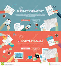 set of flat design concepts for business strategy stock vector