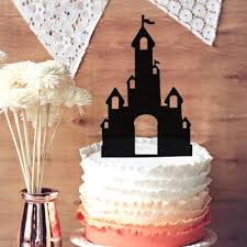 wedding cake castle party decor princess glitter fairy tale castle cake topper