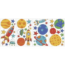 cartoon rockets planets and ufos outer space wall decals peel cartoon rockets planets and ufos outer space wall decals peel stick stickers