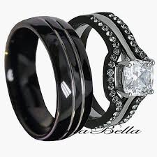 black bands rings images His tungsten hers black stainless steel 4 pc wedding engagement jpg