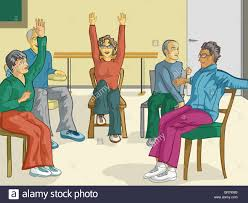Chair Exercises For Seniors A Group Of Senior Citizens Doing Fitness Exercises In Their Chairs