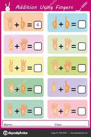 addition using fingers math worksheet for kids u2014 stock vector