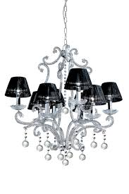 Chrome Crystal Chandelier by 8 Light Chrome And Crystal Chandelier With Black Silk Shades