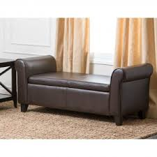 Black Tufted Ottoman Storage Ottoman Bench Tufted Leather Footrest Furniture Bedroom