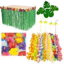 hawaiian luau party bundle pack set hibiscus table skirt straw lei