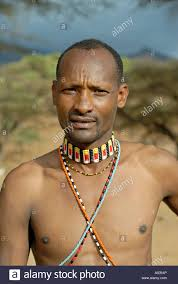 samburu warrior wearing traditional tribal ornaments kenya stock