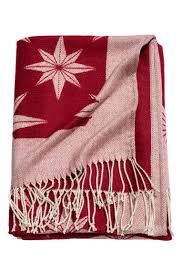 christmas motif throw dark red star pattern home all h u0026m ca