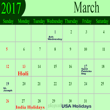 march holidays 2017 blank free calendar templates