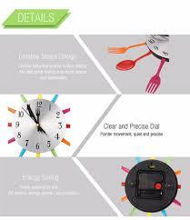 Horloge Murale Cuisine Design by 2 Couleurs Moderne Ruban Multi Couleur Couverts Cuisine Horloge