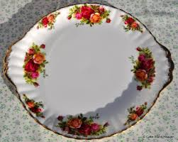 vintage royal albert country roses bone china cake plate