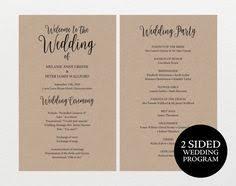 Rustic Wedding Program Template Wedding Program Template Printable Wedding Program Diy