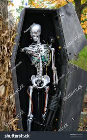 Halloween Decorations Coffin Halloween Robot Skeleton Coffin Decoration Stock Photo 17228926