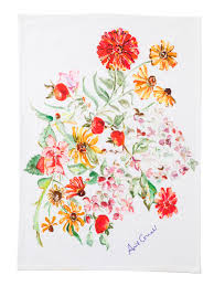 zinnia bouquet watercolor tea towel by april cornell watercolor