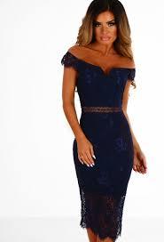 secret desire navy lace bardot midi dress pink boutique