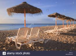Chairs On A Beach Torremolinos Malaga Andalusia Spain Sun Umbrellas And Beach