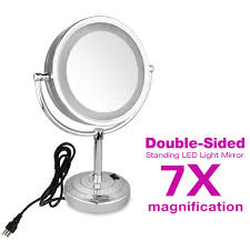 7x magnification makeup mirror stand led lighted cosmetic bathroom