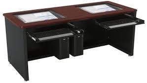 Computer Desk For Multiple Monitors Super Home Office Multi Monitor Desk Setting Workstation With
