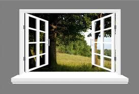 tree landscape 3d window view wall sticker