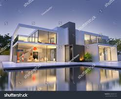 house with swimming pool realistic 3d rendering very modern upscale stock illustration