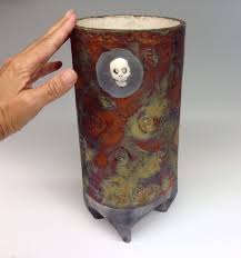 skull raku luminaria clay ceramic pottery candle holder