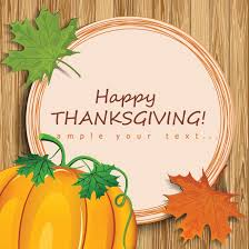 free vector illustration of happy thanksgiving circle greeting card