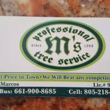 Business Cards For Tree Service M U0027s Professional Tree Service Tree Services Bakersfield Ca