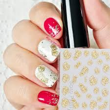 2 22 1pc gold 3d nail art sticker pretty rose patterned sticker