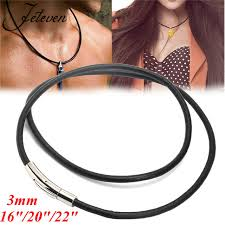 cord necklace making images 3mm black genuine real leather necklace cord string with bayonet jpg