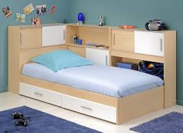 Cream Wood Bookcase Kids Bed With Desk Eased Edge Profile Top 4 Bookcase Shelves Led