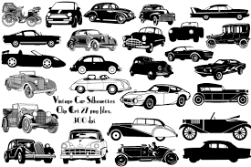 classic cars clip art vintage car silhouettes ai eps png illustrations creative market