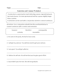 punctuation worksheets semicolon worksheets