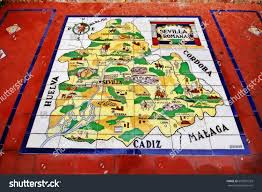 Map Of Southern Spain Seville Sevilla Andalusia Southern Spain March Stock Photo