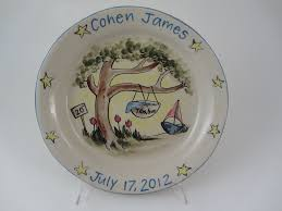 birth plates personalized personalized baby plates ceramic shoes in mi betsy ratzsch pottery