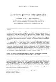 discontinuous piecewise linear optimization