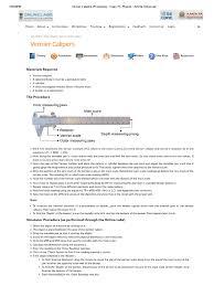 vernier calipers procedure class 11 physics amrita online