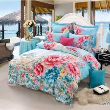 Flower Bed Sets Bright Color 3d Beautiful Flowers Blue Bedding Set King Size