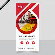 layout banner design red roll up business brochure flyer banner design vertical template