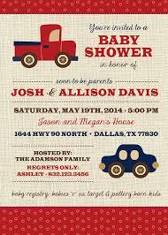 boy baby shower invitation vintage toys transportation truck