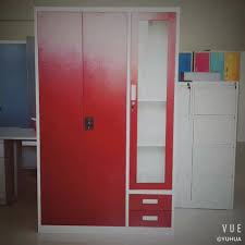 Clothes Cabinet China Online Sell 3 Door Locker With Drawer India Bedroom Metal