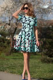 rochii de zi rochie de zi clos imprimeu floral turqouise