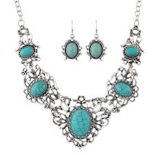 turquoise stone necklace ethnic jewelry sets antique silver color big blue stone flower