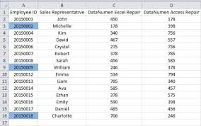 how to find missing items in a column with consecutive numbers in