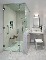 curbless shower floor bathroom contemporary with mirror mounted