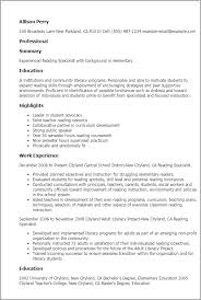 Painter Resume Sample by Professional Reading Specialist Templates To Showcase Your Talent