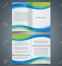 blue brochure template design with green elements layout business